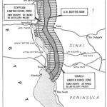 A Map of Israeli-Egyptian Separation of Forces Agreement Map, 1976. Source: A History of Israel: From the Rise of Zionism to Our Time. By Howard Sachar. New York: Alfred A. Knopf, 1976.