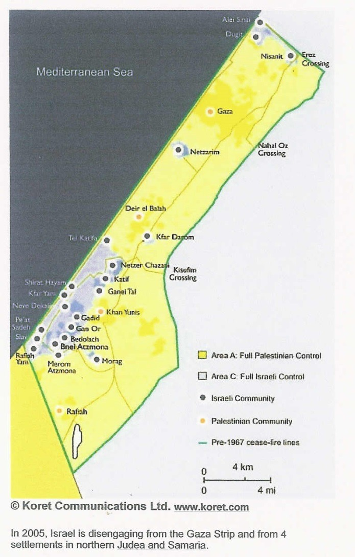 Jewish settlements in Gaza, August 2005