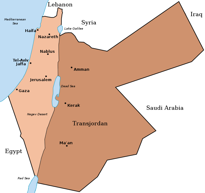 Map of Palestine and Trans Jordan
