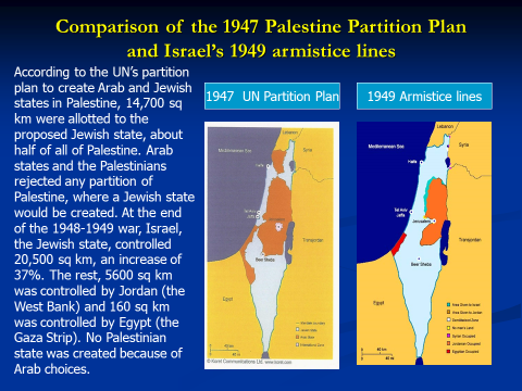 Comparison of the 1947 Palestine Plan and Israel's 1949 Armistice Lines